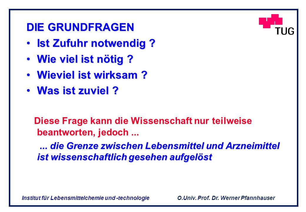 O.Univ. Prof. Dr. Werner Pfannhauser Institut für Lebensmittelchemie und -technologie Worum geht es ? Worum geht es ? Lebensmittel und deren Inhaltsst