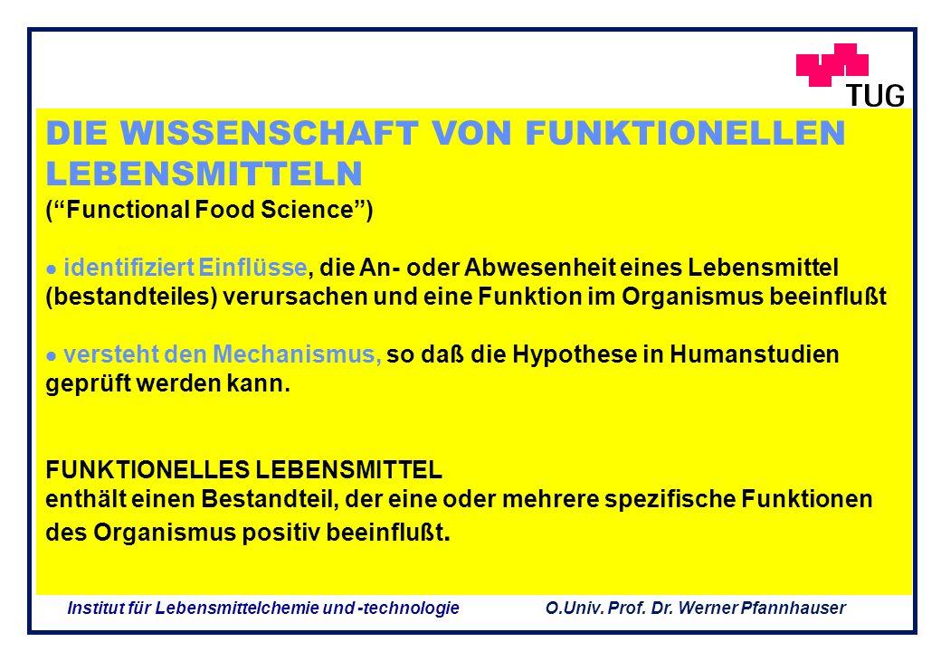 O.Univ. Prof. Dr. Werner Pfannhauser Institut für Lebensmittelchemie und -technologie Die Ernährung beeinflußt verändertKörperfunktionen daher ist Ern