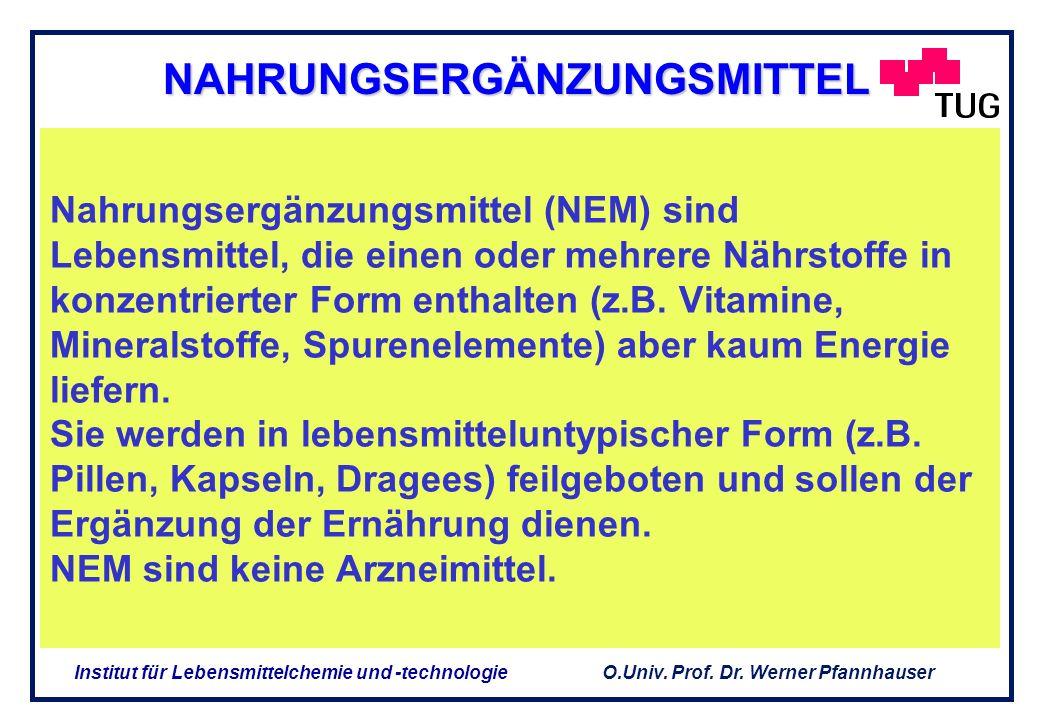O.Univ. Prof. Dr. Werner Pfannhauser Institut für Lebensmittelchemie und -technologie Abgrenzung NEM / Arzneimittel Zweckbestimmung Ernährungsspezifis