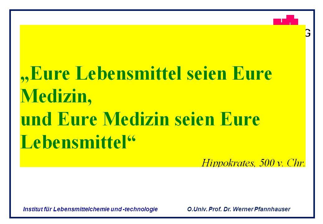 O.Univ. Prof. Dr. Werner Pfannhauser Institut für Lebensmittelchemie und -technologie DAS BEZIEHUNGSGEFLECHT LebensmittelArzneimittel FUNKTIONELLE LEB