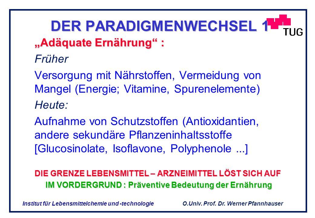O.Univ. Prof. Dr. Werner Pfannhauser Institut für Lebensmittelchemie und -technologie Nahrungsergänzungsmittel (NEM) sind Lebensmittel, die einen oder