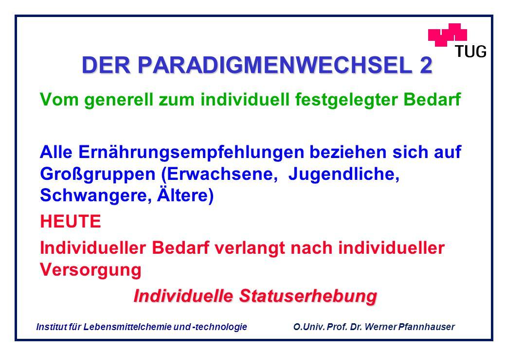O.Univ. Prof. Dr. Werner Pfannhauser Institut für Lebensmittelchemie und -technologie FUNKTIONELLE LEBENSMITTEL