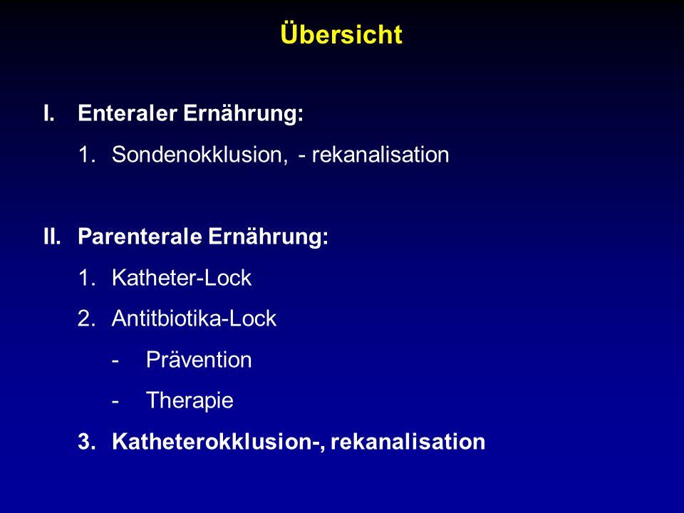 Übersicht I.Enteraler Ernährung: 1.Sondenokklusion, - rekanalisation II.Parenterale Ernährung: 1.Katheter-Lock 2.Antitbiotika-Lock -Prävention -Therapie 3.Katheterokklusion-, rekanalisation