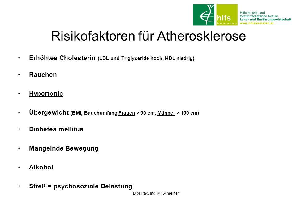 Risikofaktoren für Atherosklerose Erhöhtes Cholesterin (LDL und Triglyceride hoch, HDL niedrig) Rauchen Hypertonie Übergewicht (BMI, Bauchumfang Fraue