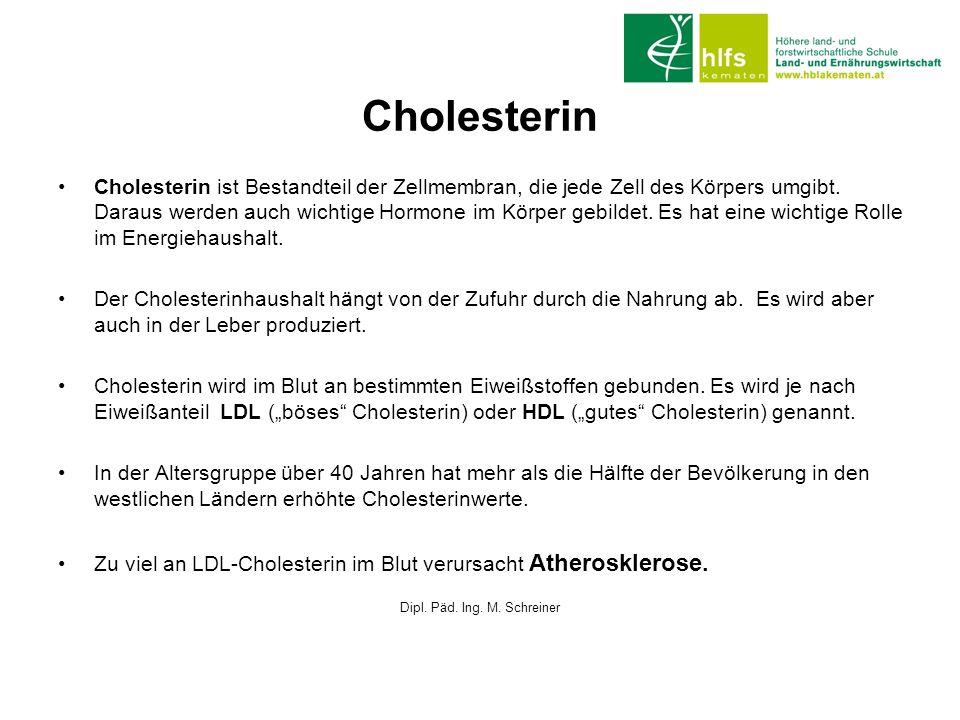 Cholesterin Cholesterin ist Bestandteil der Zellmembran, die jede Zell des Körpers umgibt. Daraus werden auch wichtige Hormone im Körper gebildet. Es