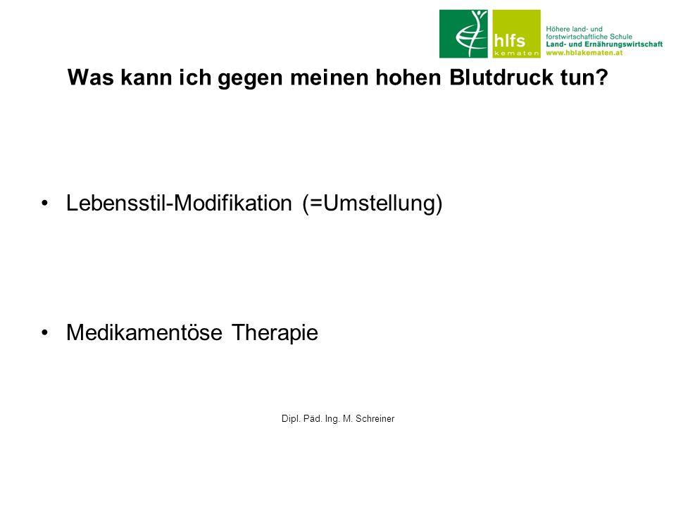 Was kann ich gegen meinen hohen Blutdruck tun? Lebensstil-Modifikation (=Umstellung) Medikamentöse Therapie Dipl. Päd. Ing. M. Schreiner