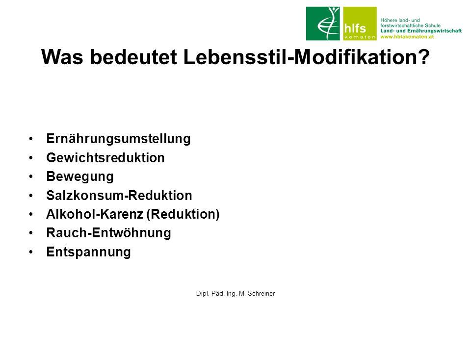 Was bedeutet Lebensstil-Modifikation? Ernährungsumstellung Gewichtsreduktion Bewegung Salzkonsum-Reduktion Alkohol-Karenz (Reduktion) Rauch-Entwöhnung