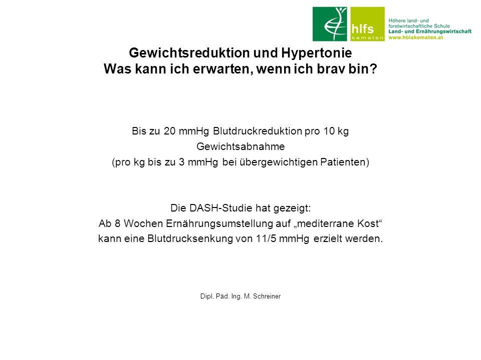Gewichtsreduktion und Hypertonie Was kann ich erwarten, wenn ich brav bin? Bis zu 20 mmHg Blutdruckreduktion pro 10 kg Gewichtsabnahme (pro kg bis zu