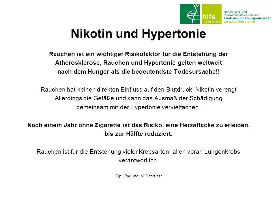 Nikotin und Hypertonie Rauchen ist ein wichtiger Risikofaktor für die Entstehung der Atherosklerose, Rauchen und Hypertonie gelten weltweit nach dem H