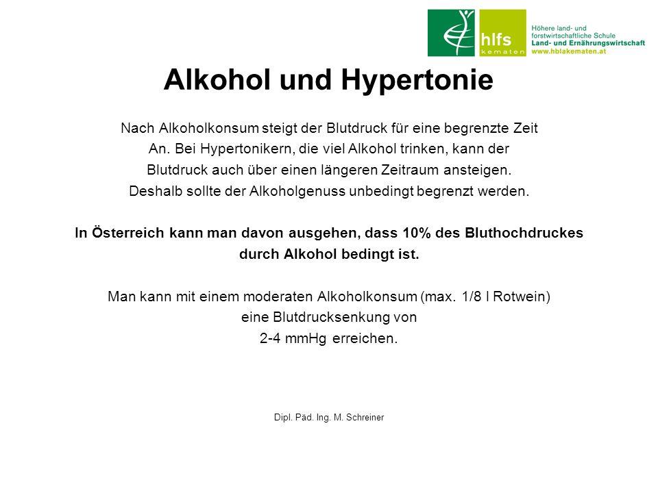 Alkohol und Hypertonie Nach Alkoholkonsum steigt der Blutdruck für eine begrenzte Zeit An. Bei Hypertonikern, die viel Alkohol trinken, kann der Blutd