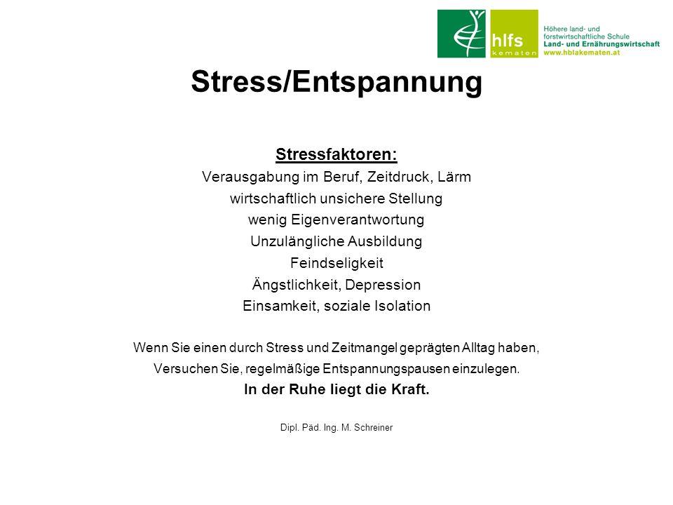 Stress/Entspannung Stressfaktoren: Verausgabung im Beruf, Zeitdruck, Lärm wirtschaftlich unsichere Stellung wenig Eigenverantwortung Unzulängliche Aus