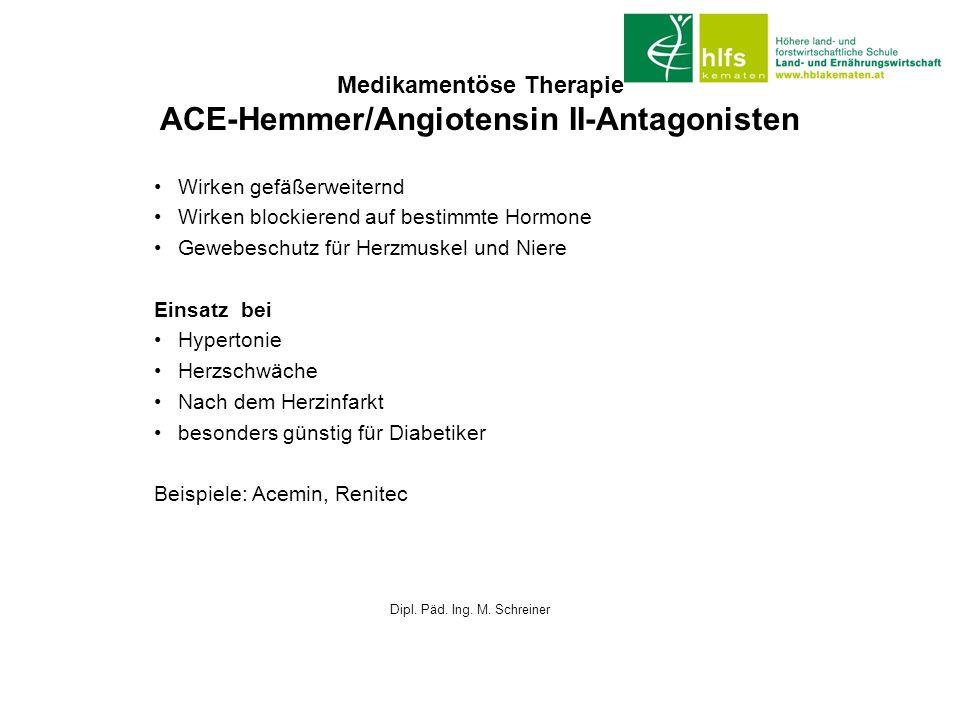Medikamentöse Therapie ACE-Hemmer/Angiotensin II-Antagonisten Wirken gefäßerweiternd Wirken blockierend auf bestimmte Hormone Gewebeschutz für Herzmus