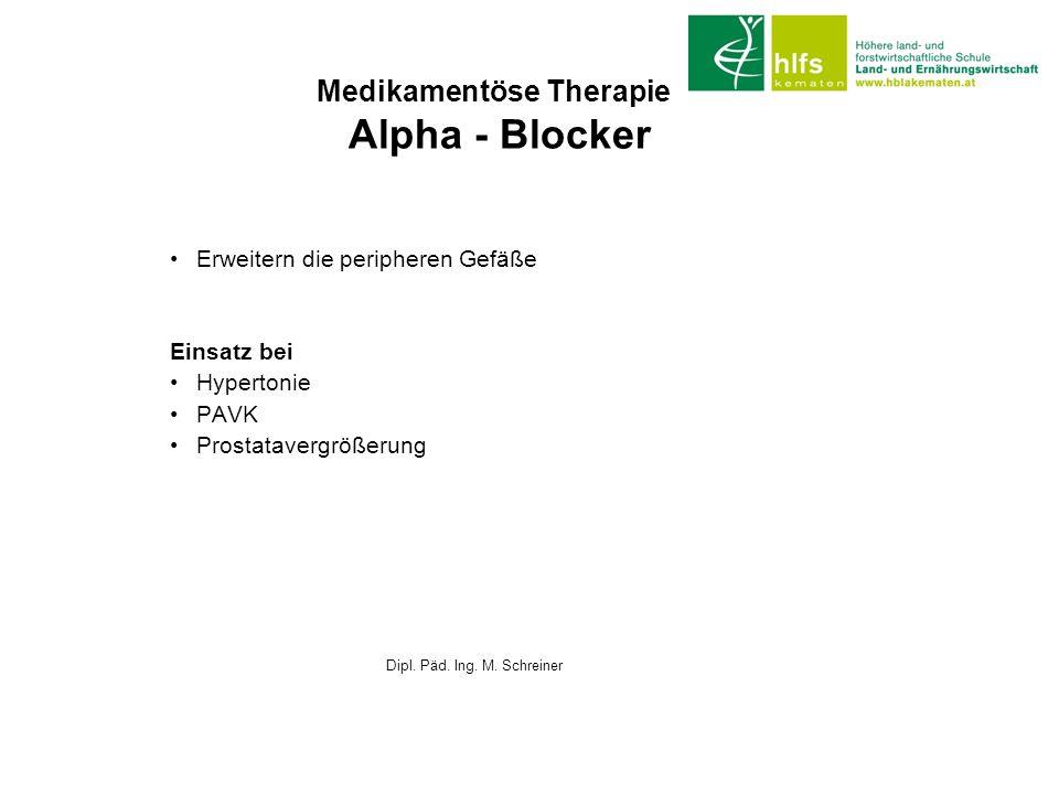 Medikamentöse Therapie Alpha - Blocker Erweitern die peripheren Gefäße Einsatz bei Hypertonie PAVK Prostatavergrößerung Dipl. Päd. Ing. M. Schreiner