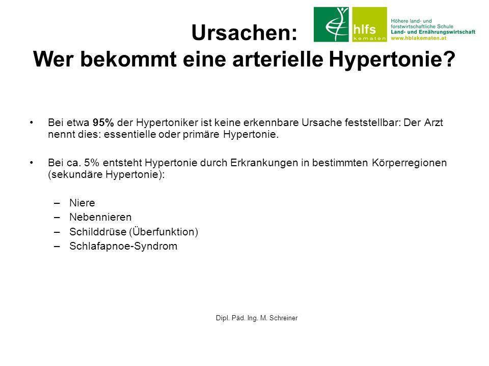Ursachen: Wer bekommt eine arterielle Hypertonie? Bei etwa 95% der Hypertoniker ist keine erkennbare Ursache feststellbar: Der Arzt nennt dies: essent