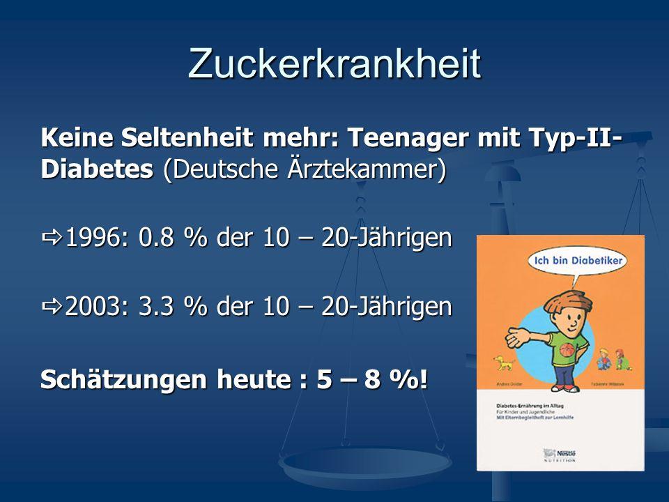 Zuckerkrankheit Keine Seltenheit mehr: Teenager mit Typ-II- Diabetes (Deutsche Ärztekammer) 1996: 0.8 % der 10 – 20-Jährigen 1996: 0.8 % der 10 – 20-Jährigen 2003: 3.3 % der 10 – 20-Jährigen 2003: 3.3 % der 10 – 20-Jährigen Schätzungen heute : 5 – 8 %!