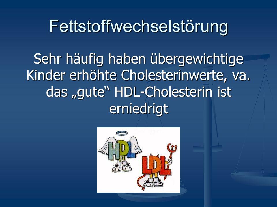 Fettstoffwechselstörung Sehr häufig haben übergewichtige Kinder erhöhte Cholesterinwerte, va. das gute HDL-Cholesterin ist erniedrigt