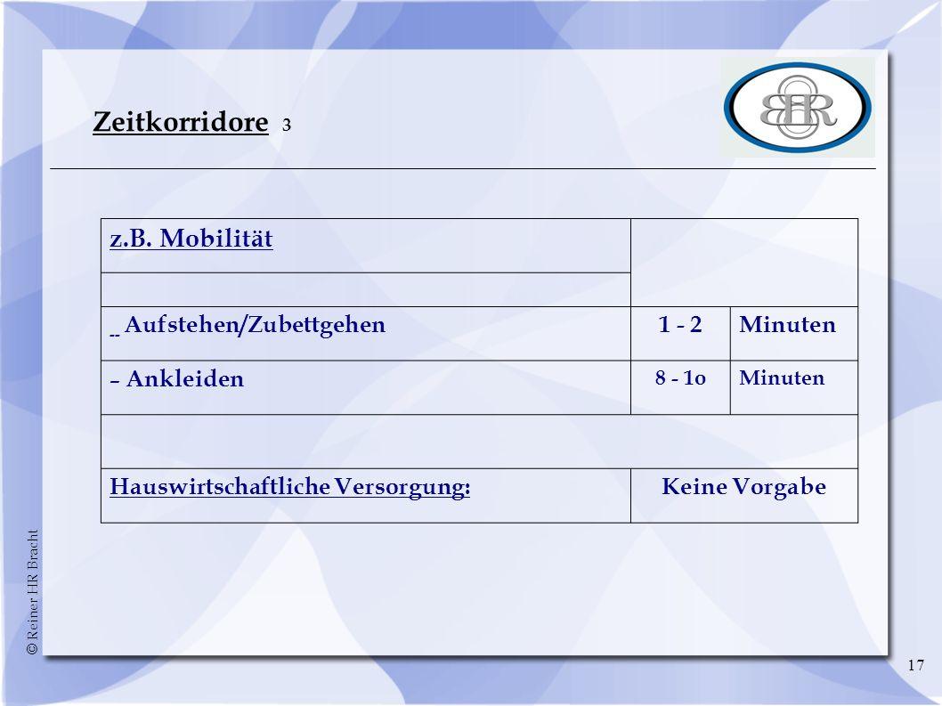 © Reiner HR Bracht 17 Zeitkorridore 3 z.B. Mobilität -- Aufstehen/Zubettgehen1 - 2Minuten – Ankleiden 8 - 1oMinuten Hauswirtschaftliche Versorgung:Kei