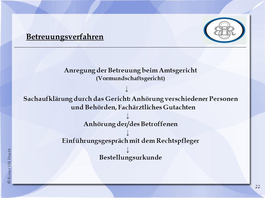 © Reiner HR Bracht 22 Betreuungsverfahren Anregung der Betreuung beim Amtsgericht (Vormundschaftsgericht) Sachaufklärung durch das Gericht: Anhörung v