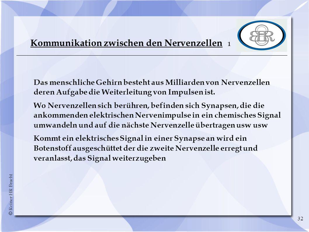 © Reiner HR Bracht 32 Kommunikation zwischen den Nervenzellen 1 Das menschliche Gehirn besteht aus Milliarden von Nervenzellen deren Aufgabe die Weite