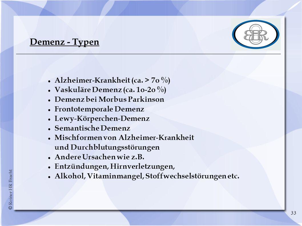 © Reiner HR Bracht 33 Demenz - Typen Alzheimer-Krankheit (ca. > 7o %) Vaskuläre Demenz (ca. 1o-2o %) Demenz bei Morbus Parkinson Frontotemporale Demen