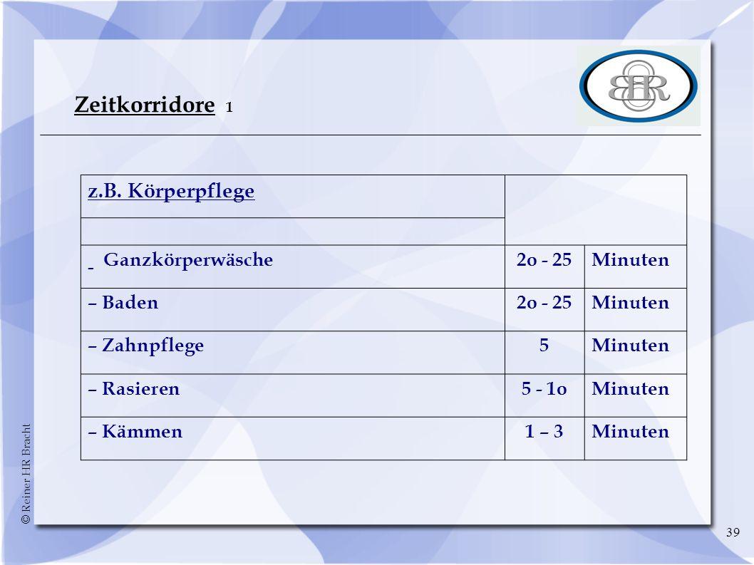 © Reiner HR Bracht 39 Zeitkorridore 1 z.B. Körperpflege – Ganzkörperwäsche2o - 25Minuten – Baden2o - 25Minuten – Zahnpflege5Minuten – Rasieren5 - 1oMi