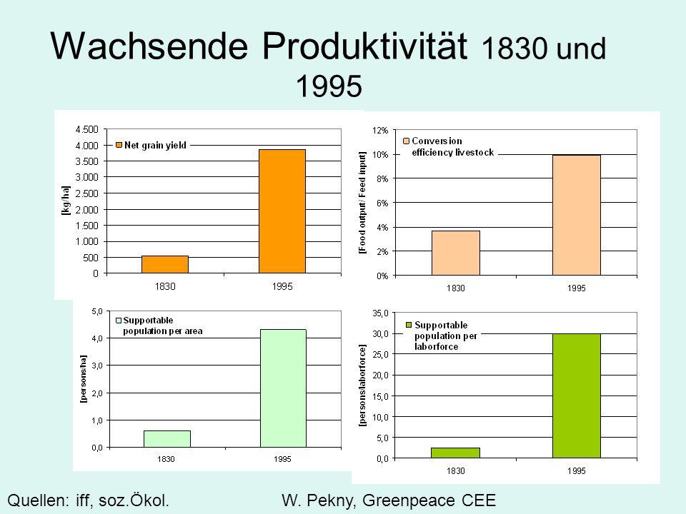 Wachsende Produktivität 1830 und 1995 Quellen: iff, soz.Ökol.W. Pekny, Greenpeace CEE