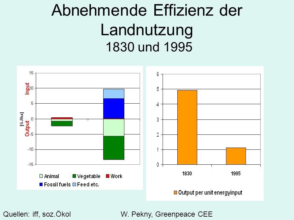 Abnehmende Effizienz der Landnutzung 1830 und 1995 Input Output Quellen: iff, soz.Ökol W. Pekny, Greenpeace CEE