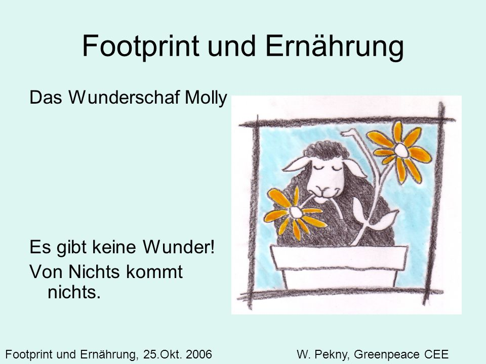 Footprint und Ernährung Das Wunderschaf Molly Es gibt keine Wunder! Von Nichts kommt nichts. Footprint und Ernährung, 25.Okt. 2006 W. Pekny, Greenpeac