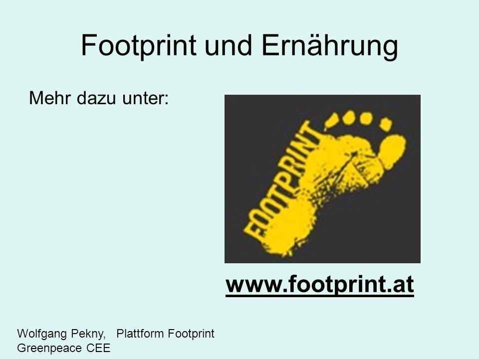 Footprint und Ernährung Mehr dazu unter: www.footprint.at Wolfgang Pekny, Plattform Footprint Greenpeace CEE