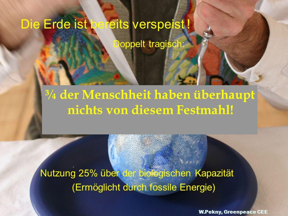 Die Erde ist bereits verspeist ! Doppelt tragisch: Nutzung 25% über der biologischen Kapazität (Ermöglicht durch fossile Energie) ¾ der Menschheit hab