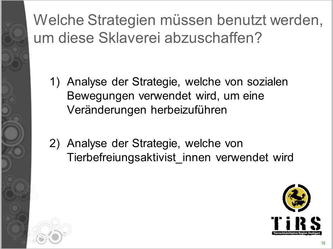 Welche Strategien müssen benutzt werden, um diese Sklaverei abzuschaffen? 1)Analyse der Strategie, welche von sozialen Bewegungen verwendet wird, um e