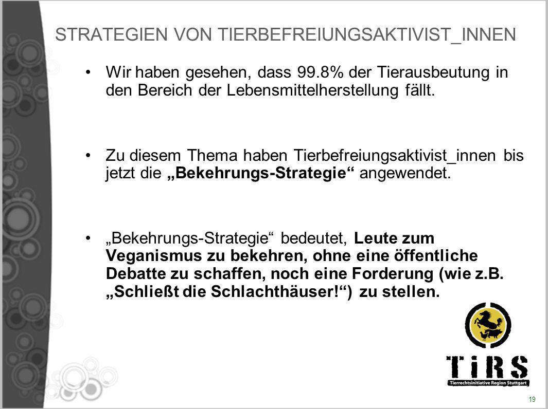 STRATEGIEN VON TIERBEFREIUNGSAKTIVIST_INNEN Wir haben gesehen, dass 99.8% der Tierausbeutung in den Bereich der Lebensmittelherstellung fällt. Zu dies