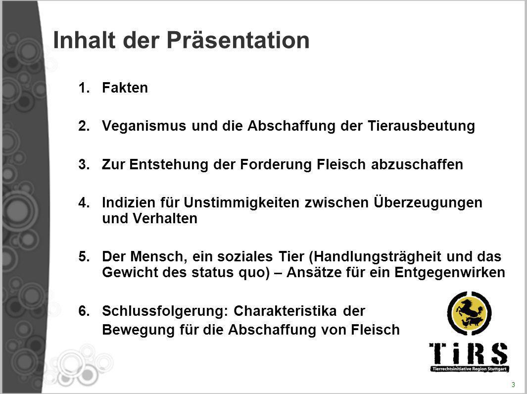 Inhalt der Präsentation 1.Fakten 2.Veganismus und die Abschaffung der Tierausbeutung 3.Zur Entstehung der Forderung Fleisch abzuschaffen 4.Indizien fü