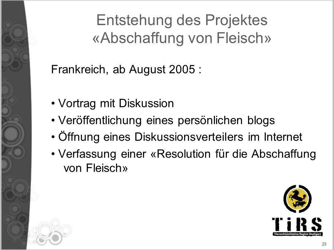 Entstehung des Projektes «Abschaffung von Fleisch» Frankreich, ab August 2005 : Vortrag mit Diskussion Veröffentlichung eines persönlichen blogs Öffnu