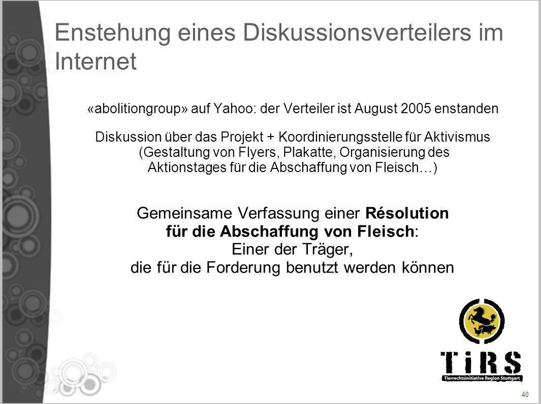 Enstehung eines Diskussionsverteilers im Internet «abolitiongroup» auf Yahoo: der Verteiler ist August 2005 enstanden Diskussion über das Projekt + Ko