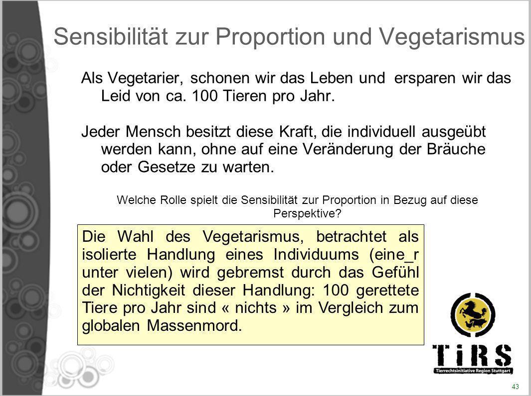 Sensibilität zur Proportion und Vegetarismus Als Vegetarier, schonen wir das Leben und ersparen wir das Leid von ca. 100 Tieren pro Jahr. Jeder Mensch
