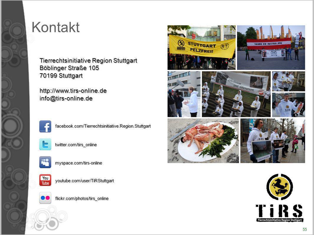 Kontakt Tierrechtsinitiative Region Stuttgart Böblinger Straße 105 70199 Stuttgart http://www.tirs-online.deinfo@tirs-online.de facebook.com/Tierrecht