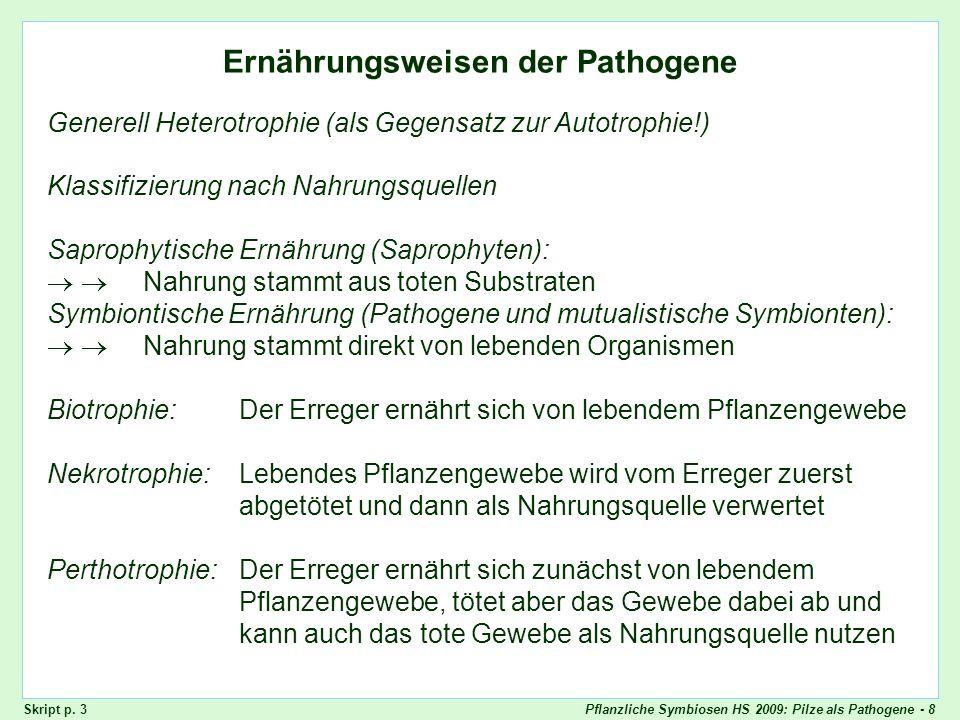 Pflanzliche Symbiosen HS 2009: Pilze als Pathogene - 29 Horizontale Resistenz + + + + + ++ + + + + + + ++ + + + + + + +- - / + + + + + + + + + + + + + Skript - p.