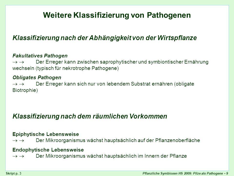 Pflanzliche Symbiosen HS 2009: Pilze als Pathogene - 9 Ernährungsweisen der Pathogene Weitere Klassifizierung von Pathogenen Skript p. 3 Klassifizieru