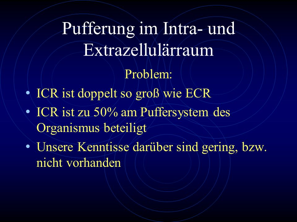 Pufferung im Intra- und Extrazellulärraum Problem: ICR ist doppelt so groß wie ECR ICR ist zu 50% am Puffersystem des Organismus beteiligt Unsere Kenn