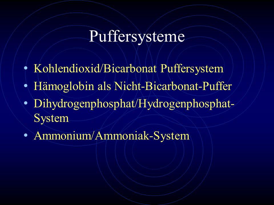 Puffersysteme Kohlendioxid/Bicarbonat Puffersystem Hämoglobin als Nicht-Bicarbonat-Puffer Dihydrogenphosphat/Hydrogenphosphat- System Ammonium/Ammonia