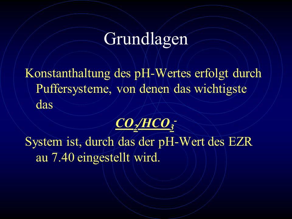 Grundlagen Konstanthaltung des pH-Wertes erfolgt durch Puffersysteme, von denen das wichtigste das CO 2 /HCO 3 - System ist, durch das der pH-Wert des
