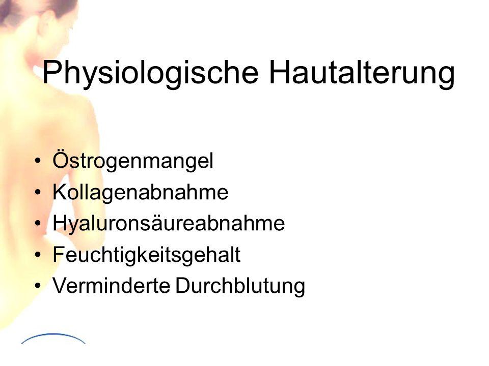 Physiologische Hautalterung Östrogenmangel Kollagenabnahme Hyaluronsäureabnahme Feuchtigkeitsgehalt Verminderte Durchblutung