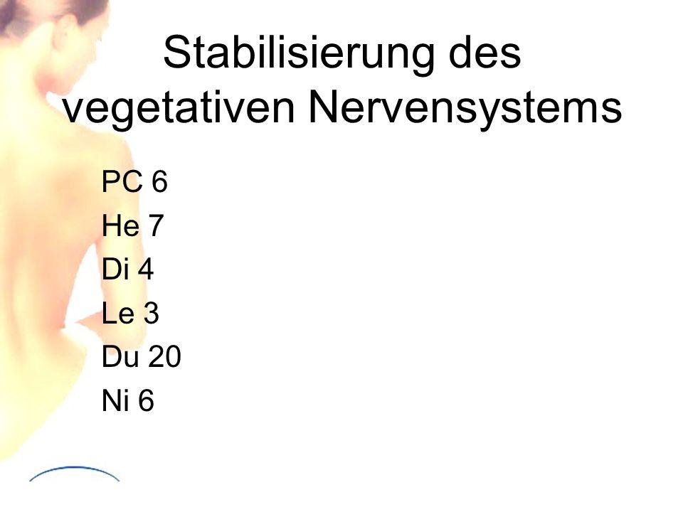 Stabilisierung des vegetativen Nervensystems PC 6 He 7 Di 4 Le 3 Du 20 Ni 6