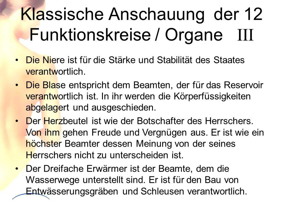 Klassische Anschauung der 12 Funktionskreise / Organe III Die Niere ist für die Stärke und Stabilität des Staates verantwortlich. Die Blase entspricht