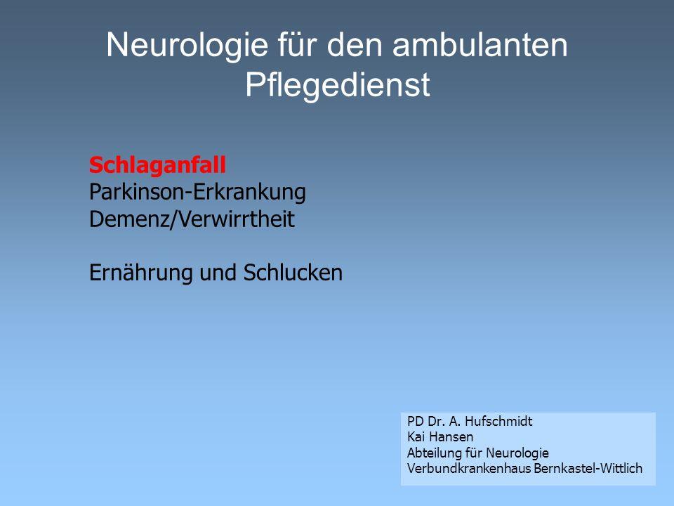 Schlaganfall Hirnblutung (ca. 15 %) Hirninfarkt (ca. 80 %)
