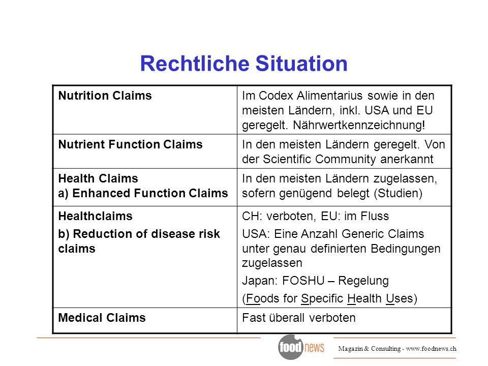 Magazin & Consulting - www.foodnews.ch Rechtliche Situation Nutrition ClaimsIm Codex Alimentarius sowie in den meisten Ländern, inkl. USA und EU gereg