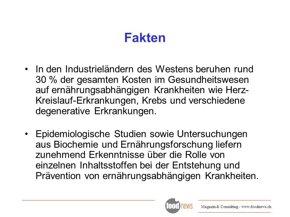 Magazin & Consulting - www.foodnews.ch Marktzahlen USA: 18.9 Mia $ im Jahr 2004 Wachstum 99-04 durchschnittlich 7.9% (Q: datamonitor) Deutschland: 1 Mia EUR Potential weltweit: 230 Mia US $ Milchprodukte haben grössten Anteil am Functional Food Markt