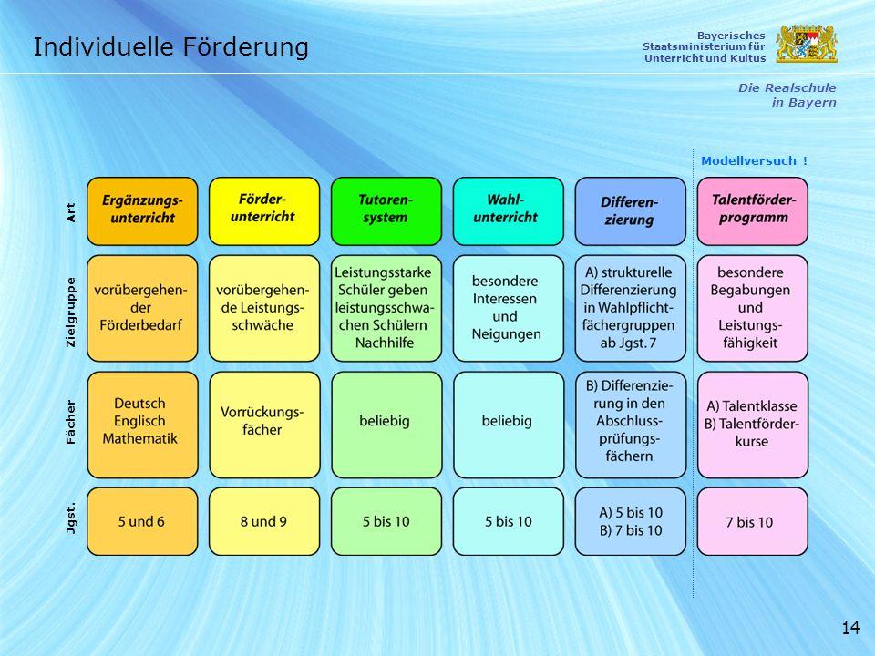 14 Individuelle Förderung Die Realschule in Bayern Bayerisches Staatsministerium für Unterricht und Kultus Zielgruppe Fächer Jgst. Art Modellversuch !