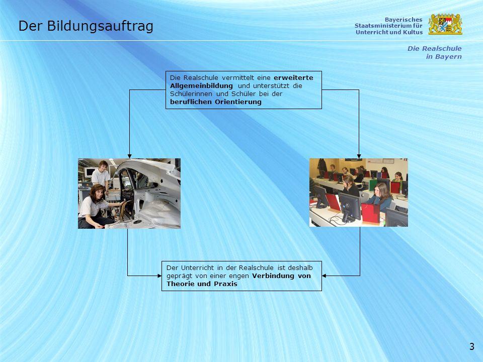 3 Die Realschule in Bayern Der Bildungsauftrag Bayerisches Staatsministerium für Unterricht und Kultus Die Realschule vermittelt eine erweiterte Allge